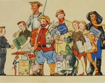 1st, First Day of School, Back to School - Illustrator Goltz - Vintage Soviet Postcard 1955. Izogiz Publ. Pioneer, Children, Toys, Pinocchio