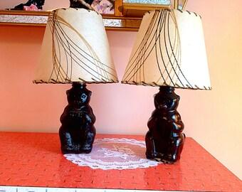 Vintage mid century fiber glass shades table lamps
