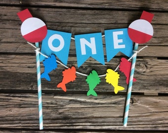 Fishing Party Cake Topper - Gone Fishing, Fishing Party, Gone Fishing Party, First Birthday, Photo Prop