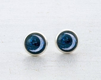 Crescent Moon Earrings, Moon Jewelry, Crescent Moon Studs, Moon and Stars