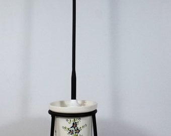 White Ceramic Toilet Brush Set