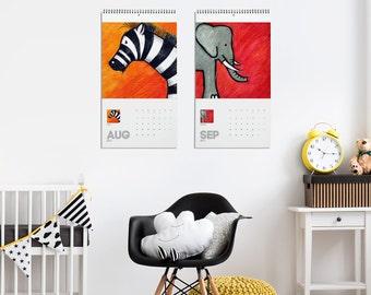 Nursery Calendar 2018, Animal Illustrations, Kids Calendar, Kindergarten Gift, Wall Decor, Animal Calendars, Animal Lover Gift