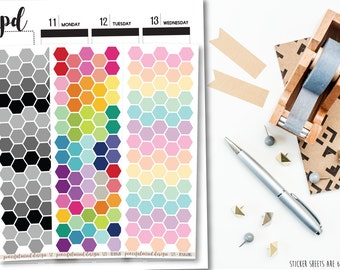Large Hexagon Stickers - Planner Stickers - S23