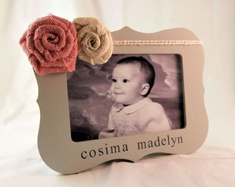 Personalized picture frame baby girl first birthday gift girl