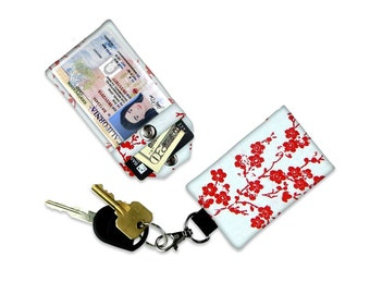 Cherry Blossom Branches Red Floral Flower Mini Wallet Card Holder Keychain Clear ID Holder Small Wallet Student ID Badge Credit Card Cash