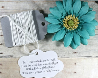 Cloud Themed Baby Shower Tags Set of 20 -  Custom White Favor Tags - White Neutral Baby Sprinkle - Burn This Light - Stork Poem - Prayer