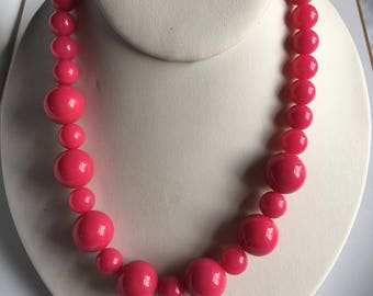 Necklace Plastic Bead Pink Silver