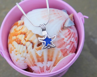 Sterling silver star, sterling silver necklace, star sea glass, sea glass jewelry, star necklace, sea glass pendant, sea glass necklace.