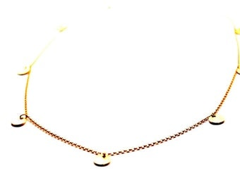 Gold drop coin necklace, 14Kt Gold Chain necklace, Gold disc necklace, coin necklace