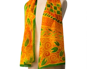 Yellow silk scarf, hand painted silk, gift for her, summer scarf, french fashion, designer silk scarf, long floral scarf, spring fashion