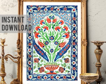 Printable Art, Traditional Turkish Bouquet, Vintage Floral Iznik Art, Ornamental Art, Ottoman Tulip and Carnation Art, Digital Download 004