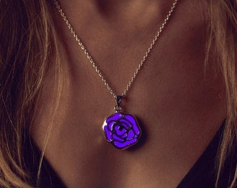 Purple Necklace - Purple Jewelry - Purple Rose - Purple Glowing Necklace - Rose Necklace - Purple - Violet Necklace - Glow in the Dark - Her