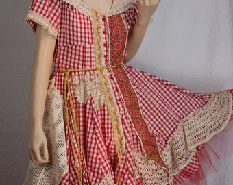 Pretty White and red gingham dress in cotton, art to wear, Unique, Feminine