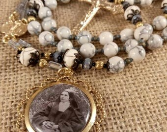 Handcrafted Rosary Handmade Brass Artisan Rosary Catholic Rosary Keepsake Rosary, St Therese & Our Lady of Sorrows Rosary, The 4 Last Things