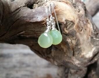 Prehnite Green Chalcedony Sterling Silver Earrings, Wire Wrapped Drop Earrings, Dainty Earrings, Gemstone Jewelry