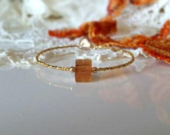 Imperial Topaz and 24K Gold Vermeil Beads Bracelet, Rich Golden Color Rough Imperial Topaz Jewelry, November Birthstone, Precious Gemstone