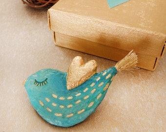 Bird Brooch, Papier Mache Brooch, Mixed Media Brooch, Paper Animal Brooch, Recycle Bird Pin, Bird Jewelry, Paper Jewelry, Gift For Her