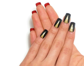 Fashion Gel Nails / Fake nails, glue on nails, press on nails, nail art, gift women, jewelry, louboutin, glitter, christmas, designer, party
