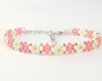 Hand Beaded Dainty Pink Bracelet - Flower Girl Bracelet - Daisy Bracelet - Hippie Bracelet - Boho Bracelet - MADE TO ORDER
