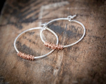 Mixed Metal Hoop Earrings, Copper and Silver Hoop Earrings, Medium Hoop Earrings, Modern Hoop Earrings, Two Tone Jewelry, Twisted Earrings