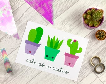 Cute as a Cactus A5 Print