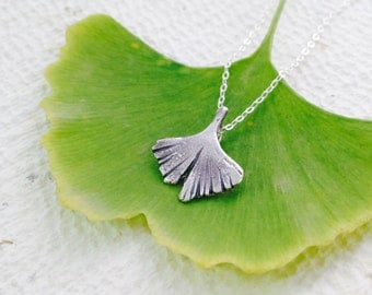 Silver Ginkgo Leaf Pendant, Solid silver, gift for her, bohemian, summer fashion, mother's gift, art nouveau style, original, woman gift
