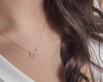 Gold Stars Necklace, Dainty Gold Star, 14k Gold Necklace, Yellow Gold, Star Necklace, Minimalist Jewelry, Necklace For Women, Gift For Her