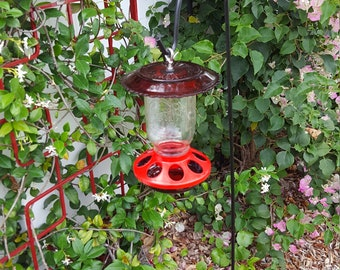 Red Glass Bird feeder