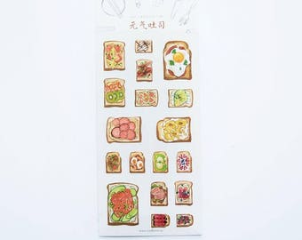 Happy Lunch Toast Detailed Sticker Sheet // Labeling Sticker Pack // Scrapbooking embellishment // DIY essentials