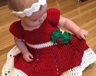 Custom Baby or Toddler Christmas Dress and Headband