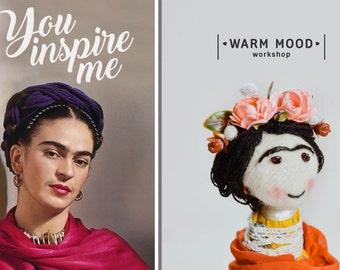 Frida Kahlo Doll, Frida Kahlo gift, Frida Art, Modern Portrait Doll of Artist Frida Kahlo. Handmade Personalized Doll from Your Photo