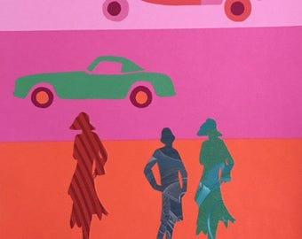 Golden twentys  - collage on wallpaper - artwork