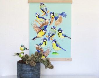 The Garden Party, blue tits, art print, watercolour wall art