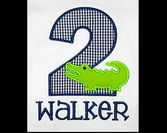 Custom Personalized Applique Birthday Number ALLIGATOR and NAME Shirt or Bodysuit - Navy Blue Mini Gingham and Lime Green
