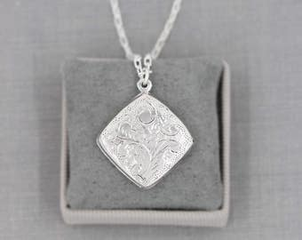 Sterling Silver Locket Necklace, Rare Vintage Square Diamond Picture Pendant with Special Chain - Modern Timelessness