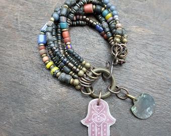 Dark Energy - beaded stacking bracelet - Hamsa