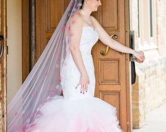 Pink Ombre Dip Dye Wedding Dress Sweetheart Neckline Layered