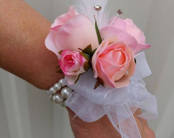 Wrist corsage, Pink rose white feather wrist corsage, Prom or Wedding corsage