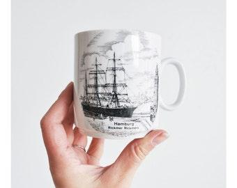 Vintage Coffee Mug with Ship // Hamburg // Rickmer Rickmers