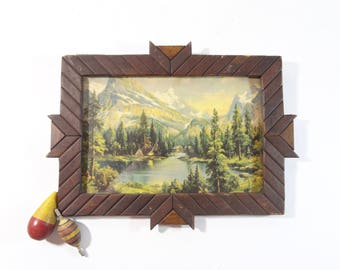 Vintage Framed Landscape Print / Lake Scene Print in Handmade Folk Art Wooden Frame / Rustic Wall Decor