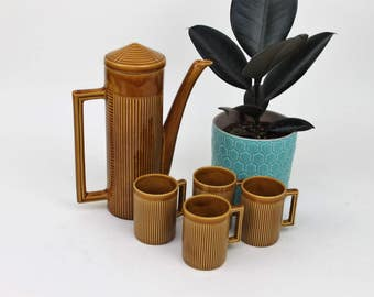 Ellgreave Pottery Tiko Light Tan Coffee Pot Set