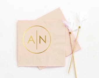 Personalized Wedding Napkins Monogrammed Cocktail Napkins Custom Printed Beverage Napkins Ivory and Gold Monogram Rehearsal Dinner Napkins