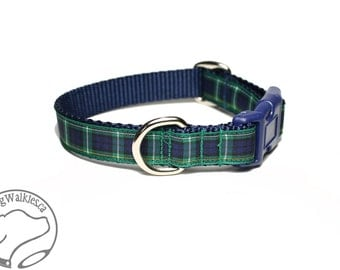 """NEW - Campbell Clan Tartan Dog Collar - 3/4"""" (19mm) Wide - Navy Blue and Green Plaid - Martingale or Side Release - Choice of style and size"""