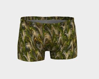 Workout short, Green yoga short, Running gym short, Tropical woman yoga shorts, Soft jogging shorts, Bahasha Activewear, Gymanastic Athletic