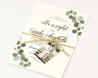 Modern Invitations - Hand Drawn Greenery and Chic Calligraphy Wedding Invite (Ella Suite)