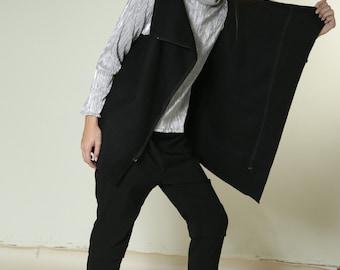 Open knitted top, Black wool vest, sleeveless top, asymmetrical zipper vest,  sleeveless top, loose fit, black winter top, short winter vest