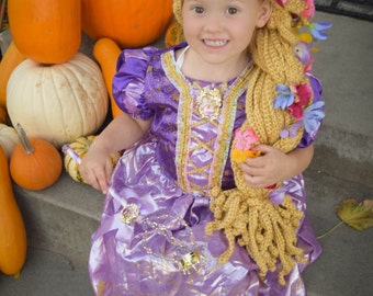 Crochet Tangled Rapunzel Inspired Wig Hat Hair With Braid and Flowers