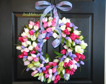 spring wreath Mother's Day wreaths for front door wreaths outdoor wedding white green floral gift wreath, outdoor decorations