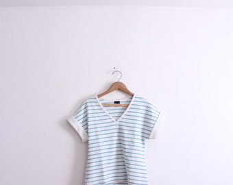 Teal Striped 90s Summer Tee