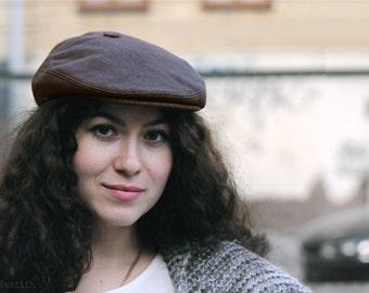 Womens newsboy hat Mens newsboy cap Womens brown hat Flat hat Flat cap Driving hat Driving cap Scally cap ivy cap Cabbie hat mens Photo prop